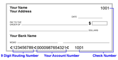 check showing where to find the routing and account numbers