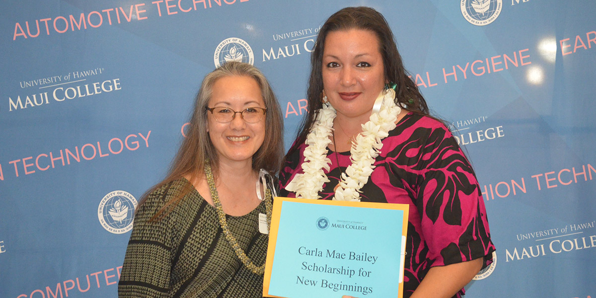 Inaugural scholarship recipient Jennifer Chrupalyk (right) and donor Carla-Mae Bailey