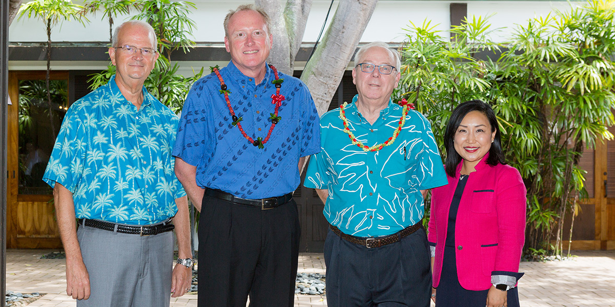 Vance Roley, dean, Shidler College of Business; Jeff Shonka, president & CEO, First Insurance Company of Hawaii; Steve Tabussi, senior vice president, First Insurance Company of Hawaii; and Unyong Nakata, executive director of development, Shidler College of Business.