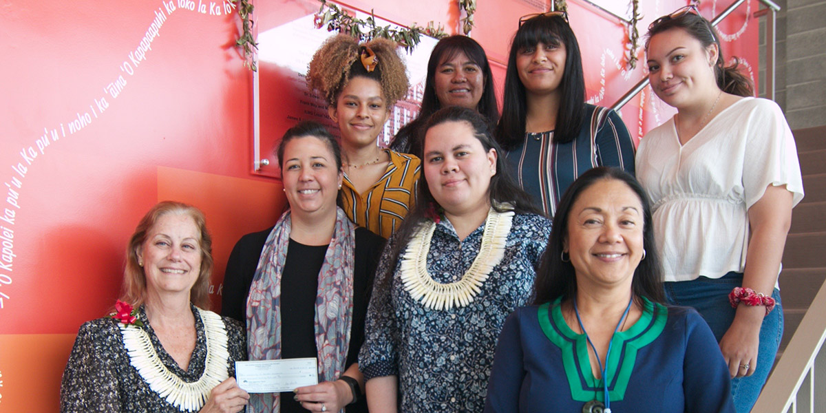 Representatives from the Hawaii-Pacific Foundation visited Oʻahu recently and to meet with and present a donation to Chancellor Maenette Benham.