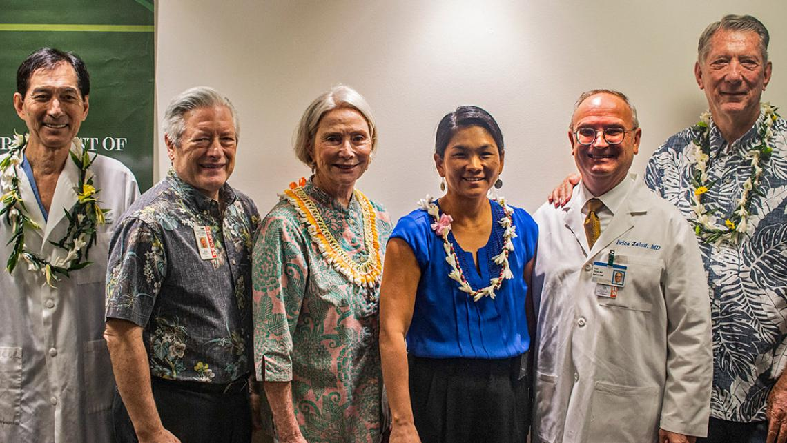 Dr. Tom Kosasa, Dean Hedges, Kitty Petersmeyer, Dr. Kaneshiro, Dr. Zalud and Bill McCorriston. Vina Cristobal photo.