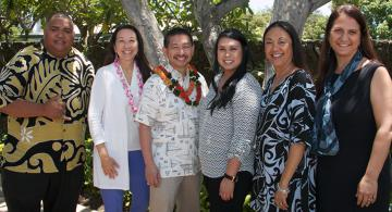 L-Rt: UHWO student Sam Sotoa, Dr. Sharon Lee, Roger Higa, UHWO student Kelsey Barretto, Chancellor Maenette Benham, and Vice Chancellor Judy Oliveira.