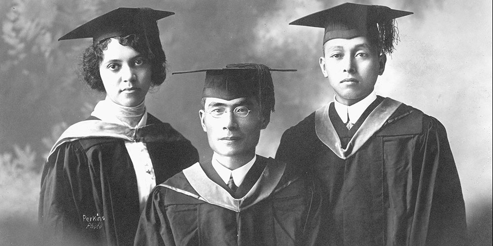 L-R: Alice Augusta Ball, Yakichi Kutsunai and Tomoso Imai