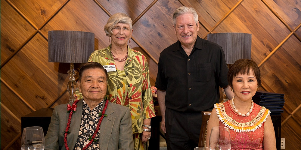 Ricardo and Dr. Rosita Leong (seated) celebrated the new endowment with Dr. Virginia Hinshaw and Dr. Jerris Hedges