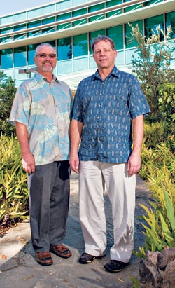 L-R: Dr. Karl and Dr. DeLong outside  the Daniel K. Inouye C-MORE Hale laboratory, UH Mānoa. Photo by Anthony Consillio.